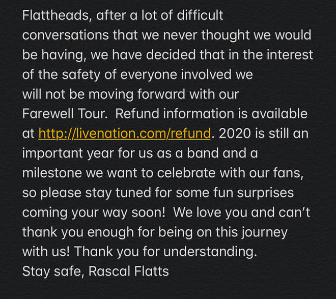 Rascal Flatts issued a statement to cancel their Life Is A Highway farewell tour