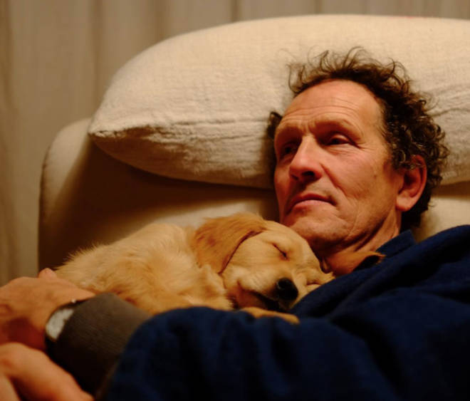 Monty Don pictured with Nigel as a puppy