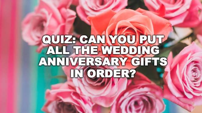 Wedding anniversary gifts quiz