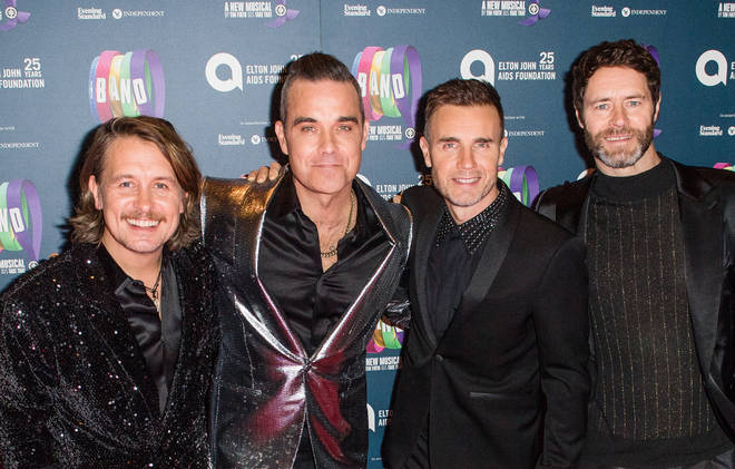 Take That pictured in 2018. (L to R): Mark Owen, Robbie Williams, Gary Barlow and Howard Donald