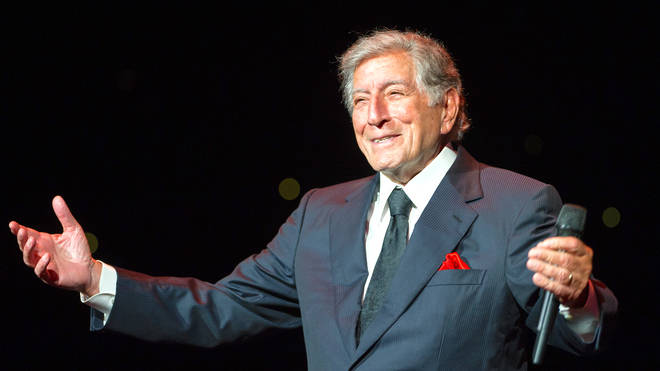 Tony Bennett performing at a concert