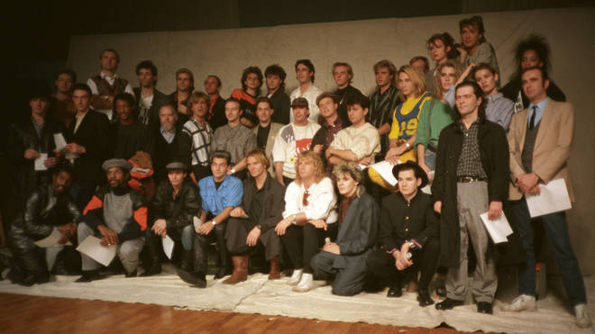 The full Band Aid line-up, photographed during rehearsals in November 1984