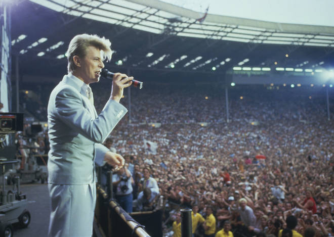 David Bowie on stage at Live Aid, July 13 1985