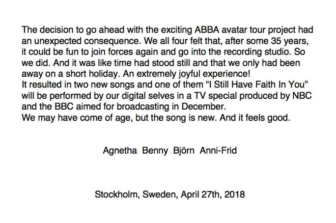 The 2018 ABBA press release