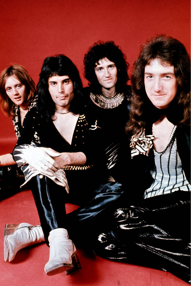 (left to right) Drummer Roger Taylor, singer Freddie Mercury (1946 - 1991), guitarist Brian May and bassist John Deacon of British rock band Queen pose in London in 1973.