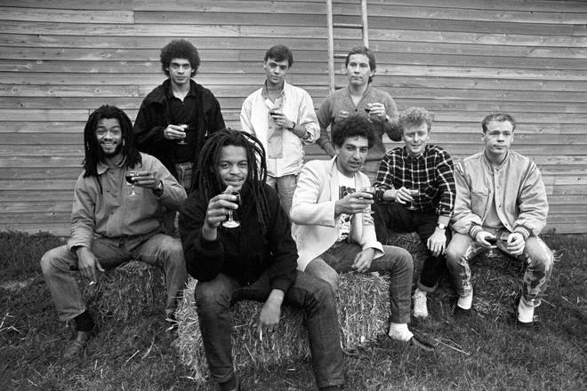 UB40 in 1983 - Standing from left: Mickey Virtue, James Brown, Robin Campbell. Sitting from left: Earl Falconer, Astro, Norman Hassan, Brian Travers and Ali Campbell
