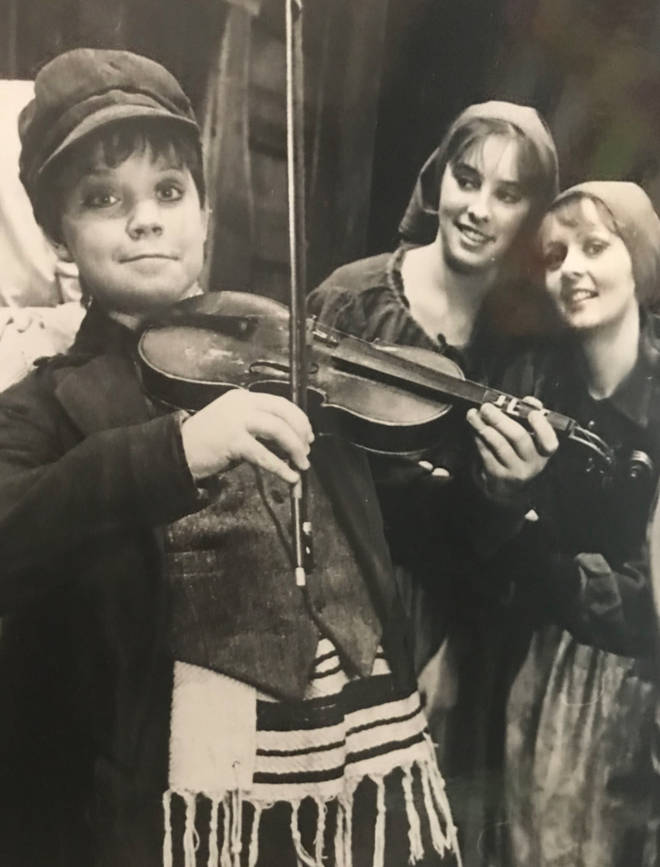 Robbie Williams pictured performing in Fiddler On The Roof as a teen