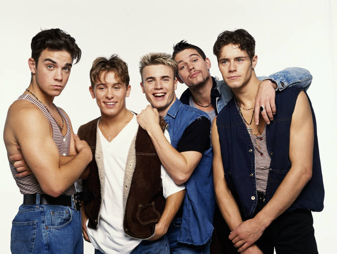 Take That pictured in 1992. Left to right: Robbie Williams, Mark Owen, Gary Barlow, Jason Orange and Howard Donald.