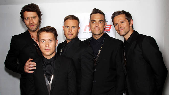 L-R Howard Donald, Mark Owen, Gary Barlow, Robbie Williams and Jason Orange pictures on May 11, 2011 three years before Jason left the band