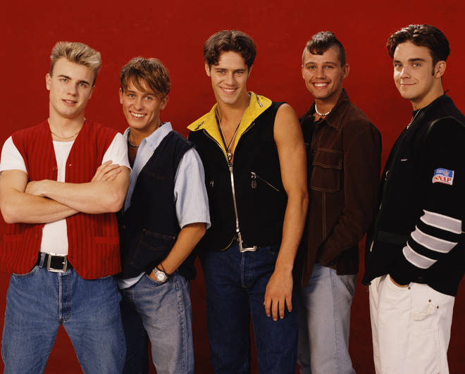 Gary Barlow, Mark Owen, Howard Donald, Jason Orange and  Robbie Williams pictured in 1991