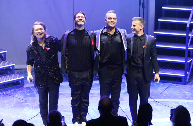 Mark Owen, Howard Donald, Robbie Williams and Gary Barlow pictured at their last performance together on December 4, 2018