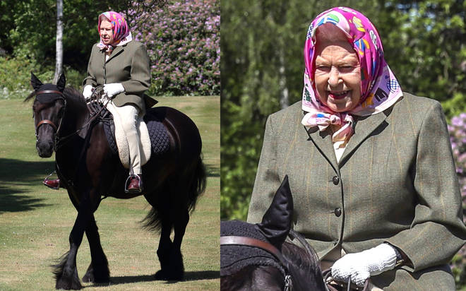 The Queen is pictured outside for first the time since lockdown as the 94-year-old enjoys a pony ride