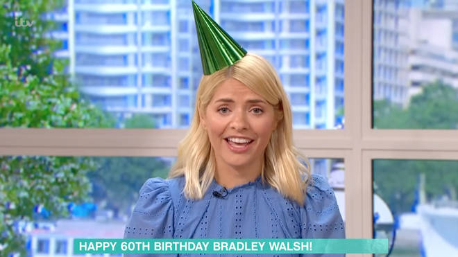 Holly Willoughby put on a party hat to celebrate Bradley Walsh's 60th birthday