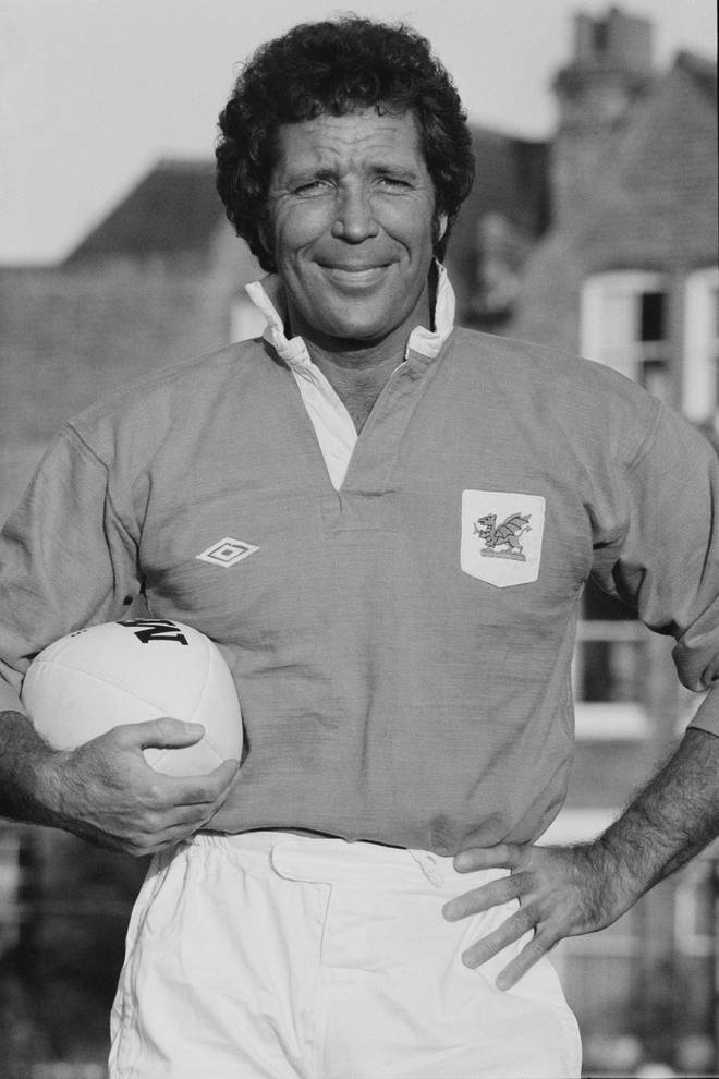 Tom Jones pictured wearing a Welsh rugby kit in September 1983