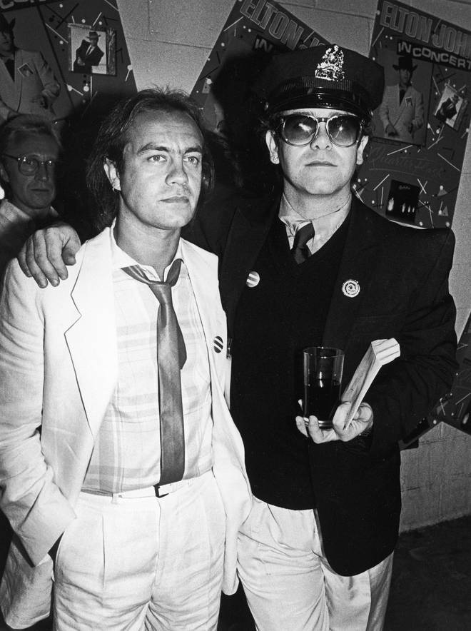 Linda says Bernie Taupin persuaded Elton to call off the wedding. Pictured, Bernie and Elton