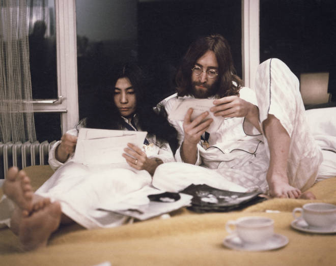 John Lennon and Yoko Ono (left) during their 'Bed-In' in the Presidential suite of the Hilton hotel in Amsterdam, Netherlands in March 1969.