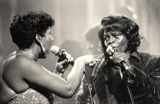 Aretha Franklin performing with James Brown