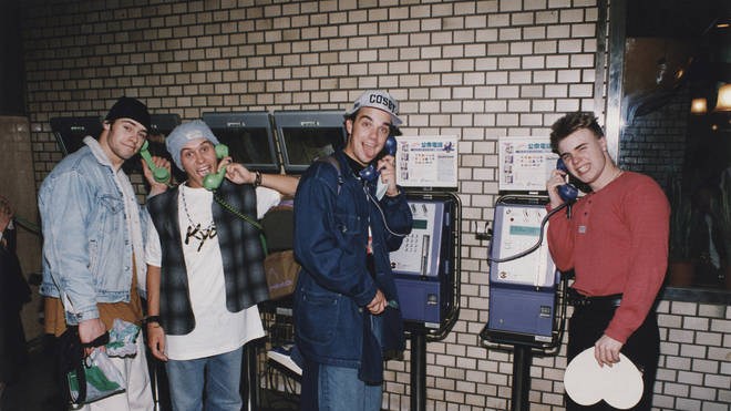 Take That's Howard Donald, Mark Owen, Robbie Williams and Gary Barlow in Japan in 1995
