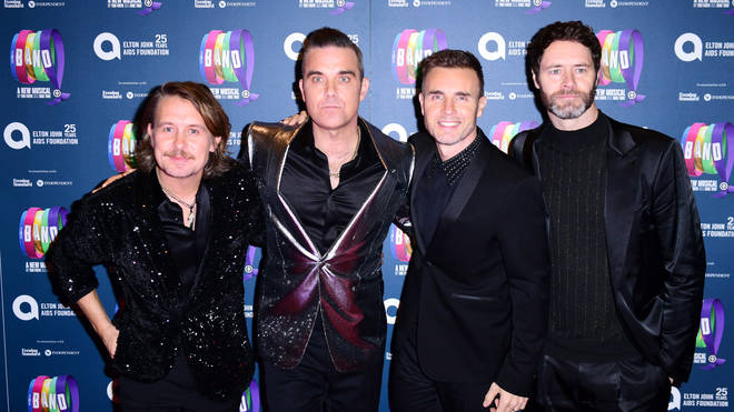 Take That's Mark, Robbie, Gary and Howard attending 'The Band'