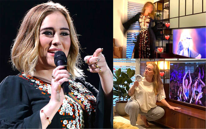 Adele sends fans into frenzy as she posts photos re-watching her Glastonbury performance