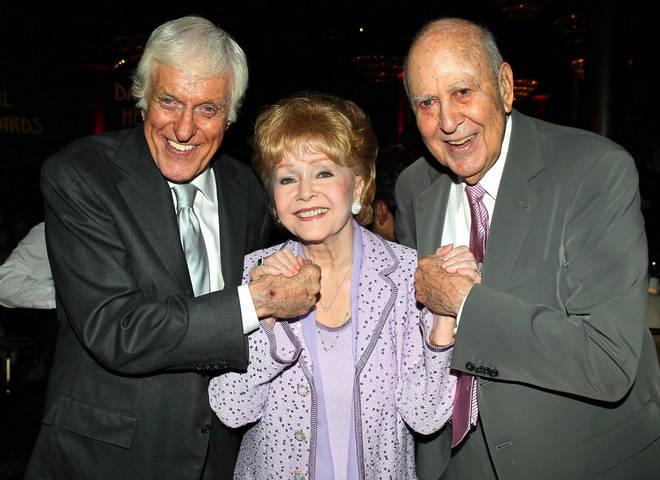 Actors Dick Van Dyke, Debbie Reynolds and Carl Reiner in 2013