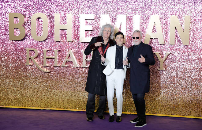 Queen's Brian May and Roger Taylor with Rami Malek at the London premiere of Bohemian Rhapsody