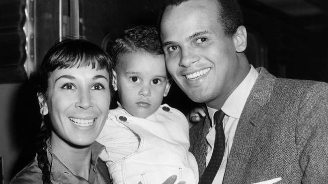 Harry Belafonte with second wife Julie Robinson and son David in 1959