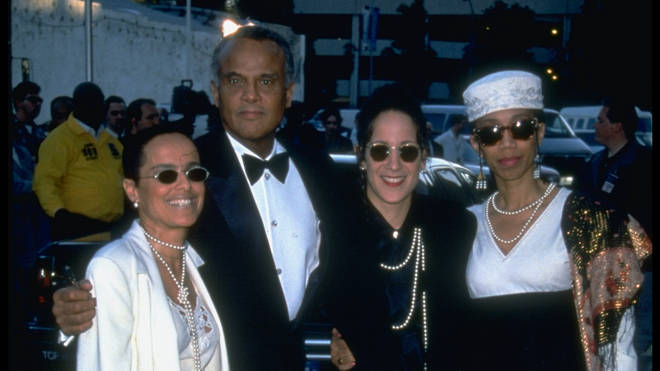 Harry Belafonte with daughters Shari and Gina, with Malcolm X's daughter Attilah Shabazz (right)