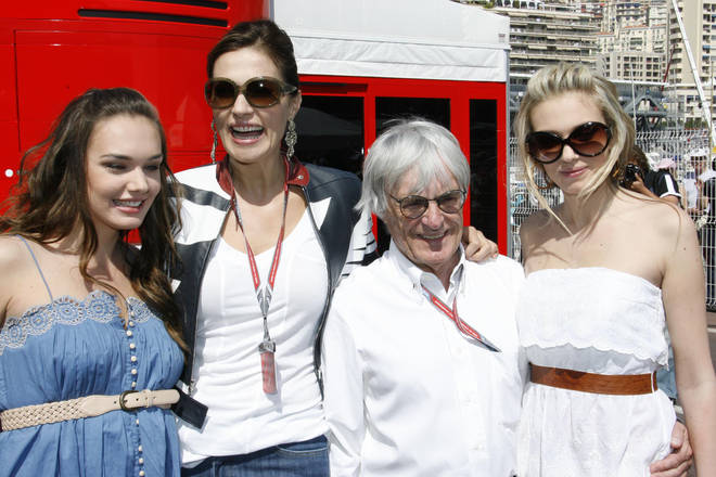 Bernie Ecclestone pictured with daughter Tamara, ex-wife Slavica and daughter Petra in 2006
