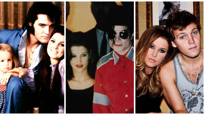 From left to right: Lisa Marie Presley with her father Elvis and mother Priscilla, ex-husband Michael Jackson and late son Benjamin Keough