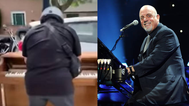 Billy Joel was spotted playing the discarded piano on a street in Long Island, New York