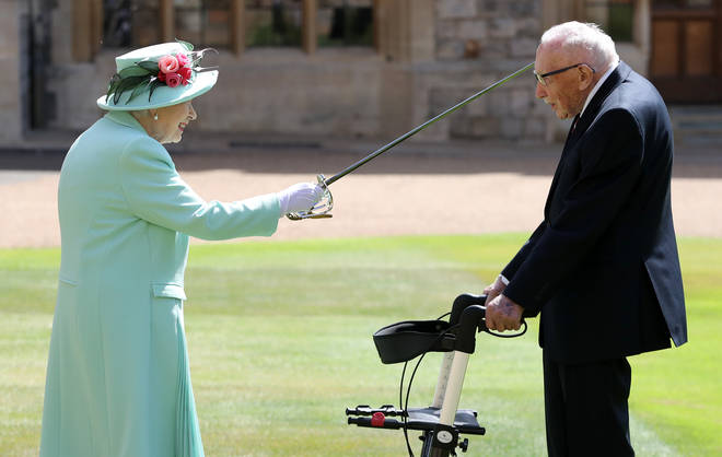 Captain Sir Tom Moore received his knighthood was the Queen today, July 17, 2020