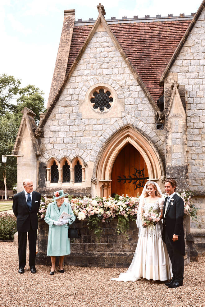 Princess Beatrice and Edoardo Mapelli Mozzi outside The Royal Chapel of All Saints at Royal Lodge, Windsor after their wedding with Queen Elizabeth II and the Duke of Edinburgh