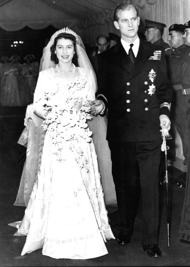 Queen Elizabeth II alongside the Duke of Edinburgh as they leave Westminster Abbey after their marriage ceremony. Princess Beatrice wore the same tiara.