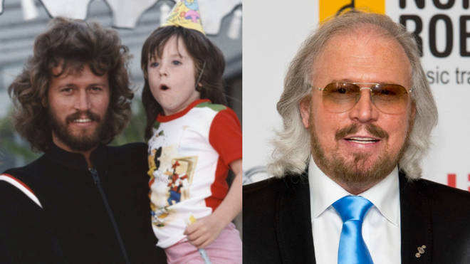Stephen Gibb pictured with his father Barry Gibb when he was a child. Right, Barry Gibb