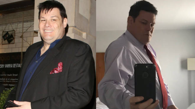 Mark Labbett showed of his weight loss to his Twitter followers (right). Pictured in 2017, left.
