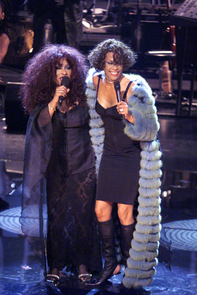 Chaka Khan (left), and Whitney Houston perform during the finale of the VH1 DIVAS LIVE '99 at the Beacon Theatre in New York on Tuesday, April 13.