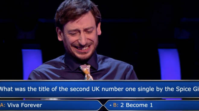 Paul Curievici was stumped by a Spice Girls question on Who Wants To Be A Millionaire worth £64,000