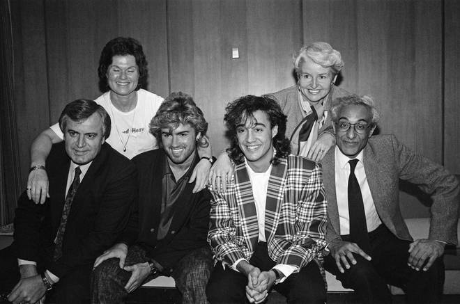 George Michael pictured with his parents, left to right, Greek-Cypriot Jack Michael and Jewish Lesley Michael and Andrew Ridgeley pictured with his parents, left to right, Andrew Ridgeley, Jenny Ridgeley and Albert Ridgeley. 30th March 1985.
