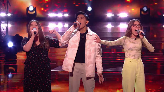 Left to right: Gracie, Jarren and Daria blew away the audience and judges of The Voice Kids with their performance of Freddie Mercury's 1987 song, 'Barcelona'.