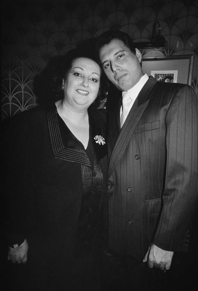 Montserrat Caballe and Freddie Mercury became firm friends and released 'Barcelona' as a duet in 1987. Pictured in 1988.
