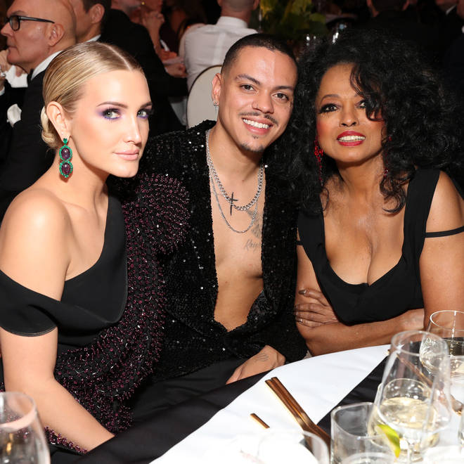 Diana Ross officiated the wedding of her son Evan Ross and his new bride Ashlee Simpson in 2014. Pictured (Right to Left): Ashlee Simpson, Evan Ross and Diana Ross