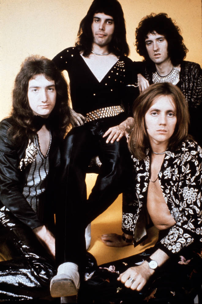 Queen pose for a group portrait in London, January 1973. (Clockwise from left) John Deacon, Freddie Mercury, Brian May and Roger Taylor.