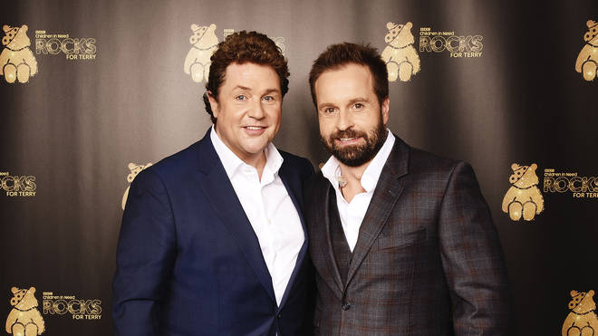 Michael Ball (L) and Alfie Boe support BBC Children in Need Rocks for Terry at Royal Albert Hall on November 1, 2016 in London