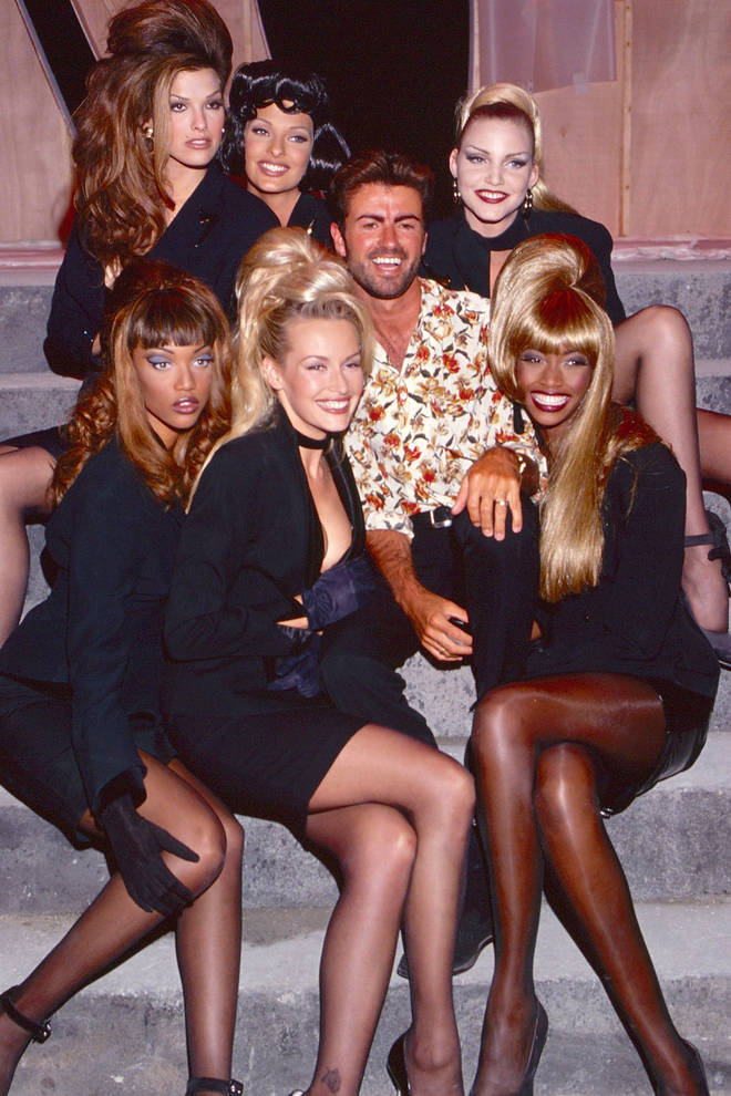 "Tyra Banks, Linda Evangelista, George Michael and Eva Herzigova, Beverly Peele pose during the ""Too Funky"" video shoot circa 1992 in Paris,"