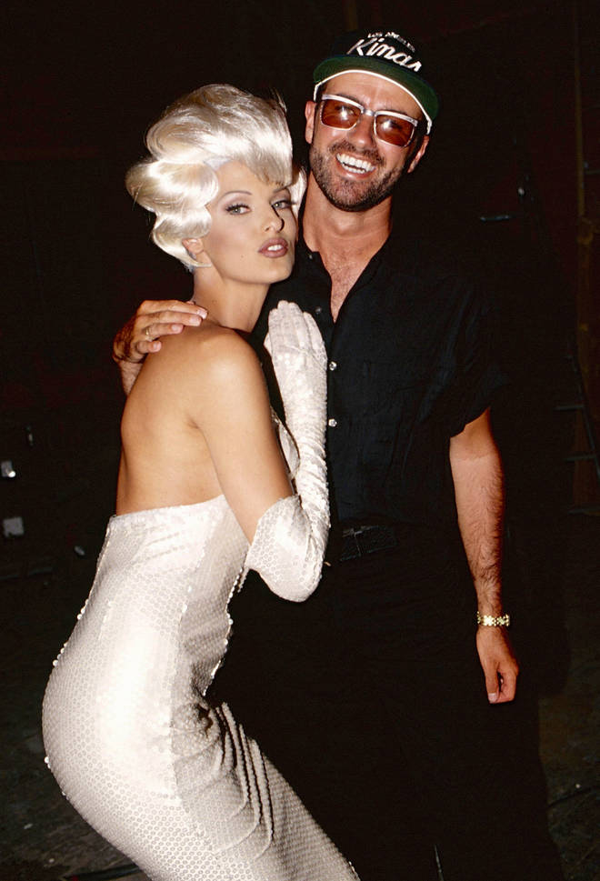 "inda Evangelista and George Michael during the ""Too Funky"" video shoot circa 1992 in Paris"