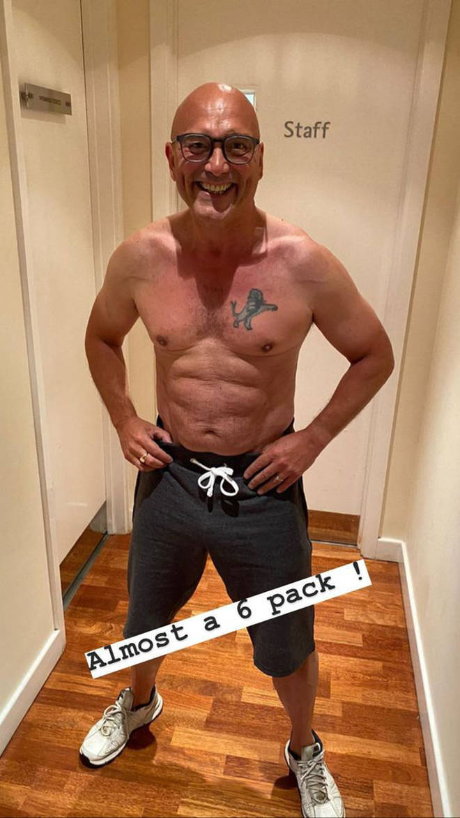 "Gregg Wallace shows off his ""almost six pack"" on social media"