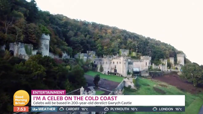 Gwrych Castle Estate is seen from the air in the video shot by Good Morning Britain