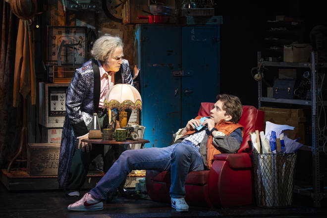 Roger Bart as Doc Brown and Olly Dobson as Marty McFly in Back to the Future The Musical