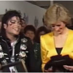 After the line-up Michael Jackson and a bashful Princess Diana joined Prince Charles for a photocall where the singer gifted the royals miniature Bad jackets for William and Harry and a platinum disc wall hanging.